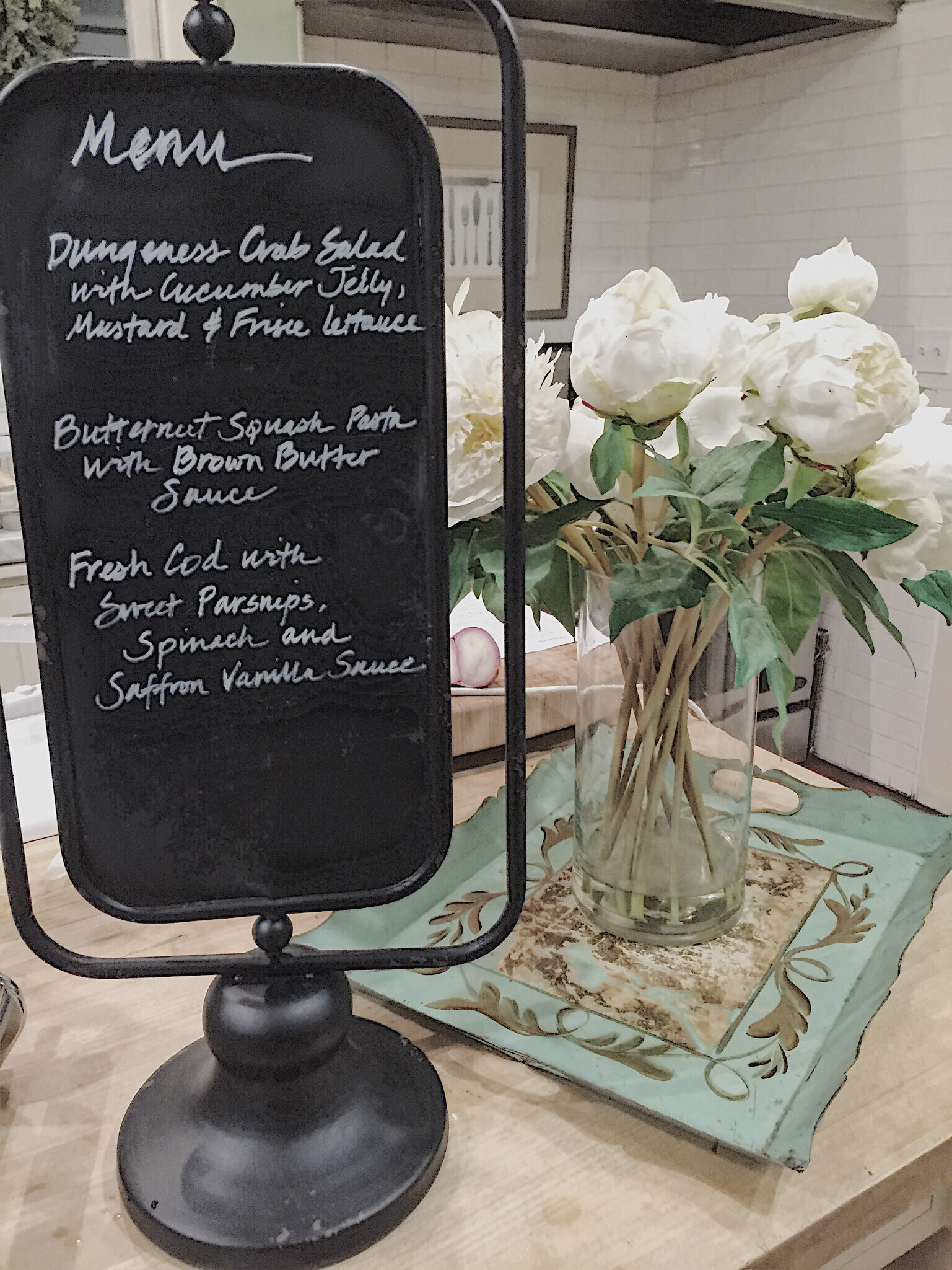 chalkboard menu with flowers