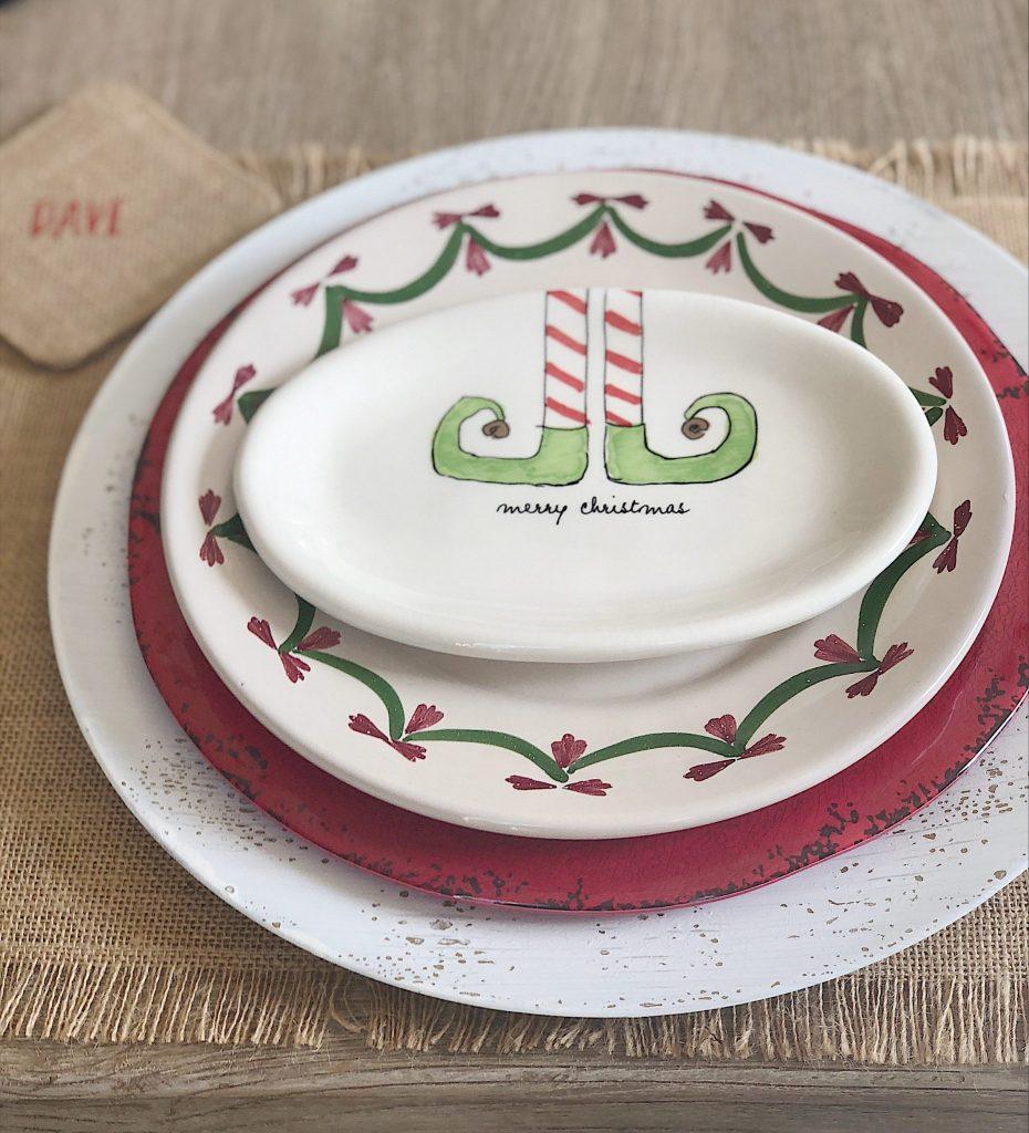 Christmas table with Rae Dunn pottery