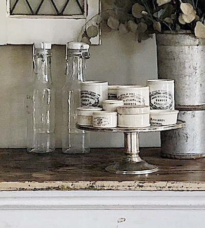 collect cake stands to display decor