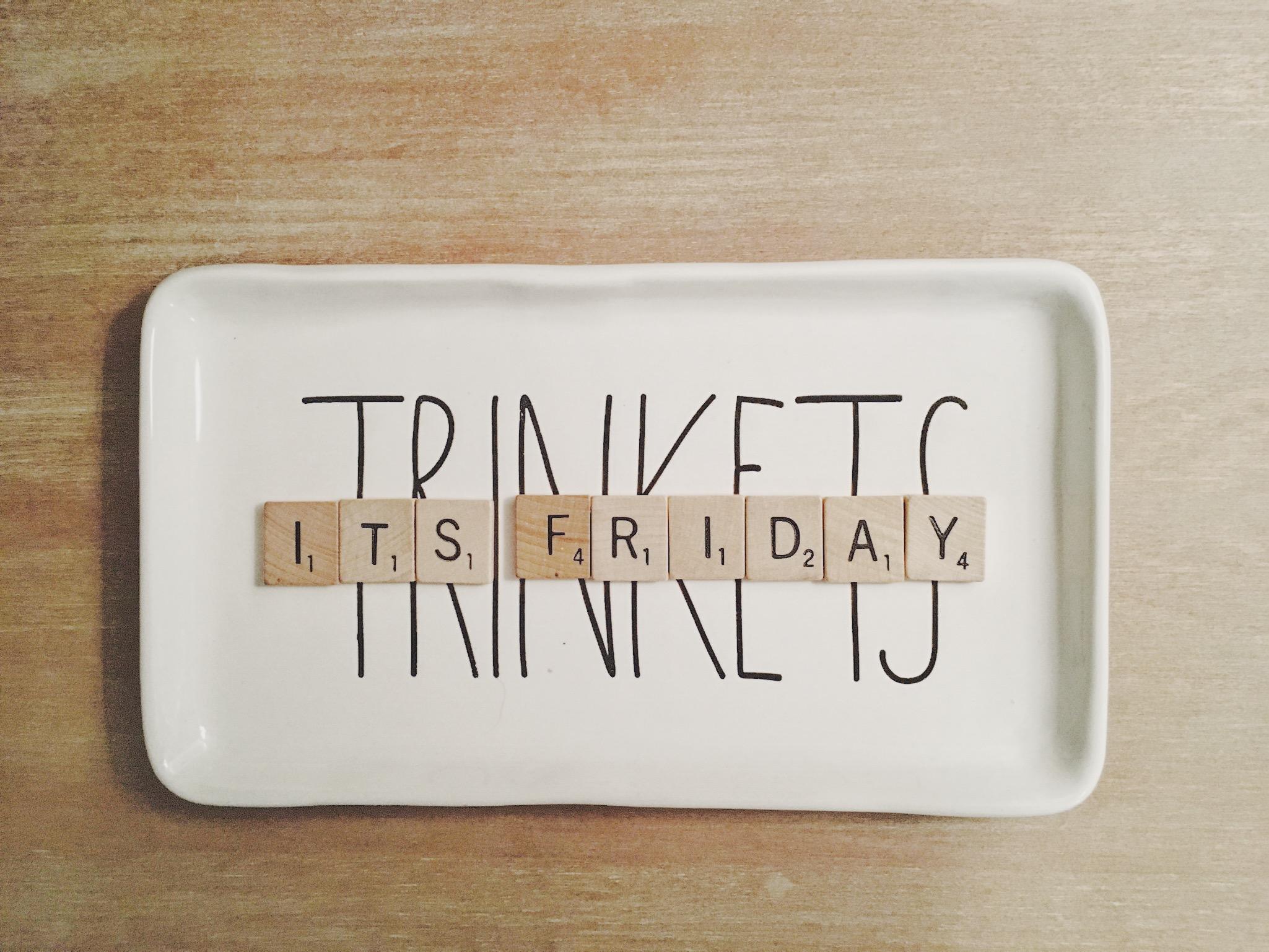 Scrabble tiles on Rae Dunn trinkets