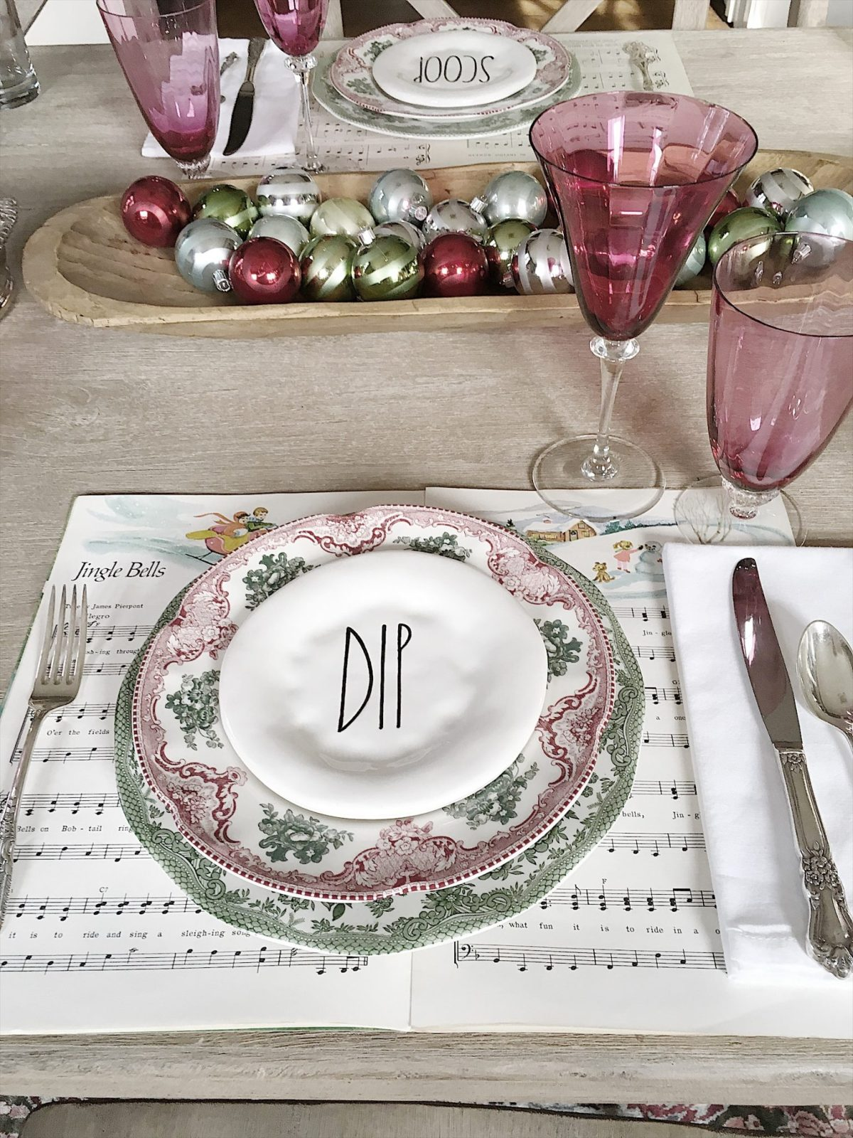 a holiday table with music