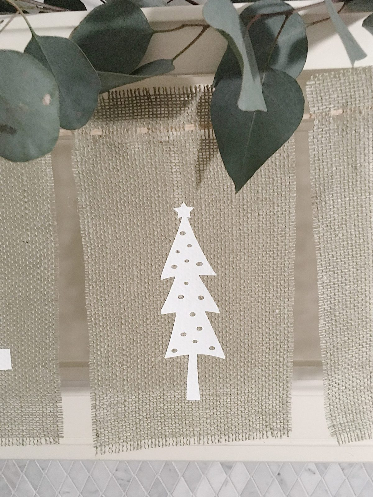 Burlap Christmas Tree Garland 11