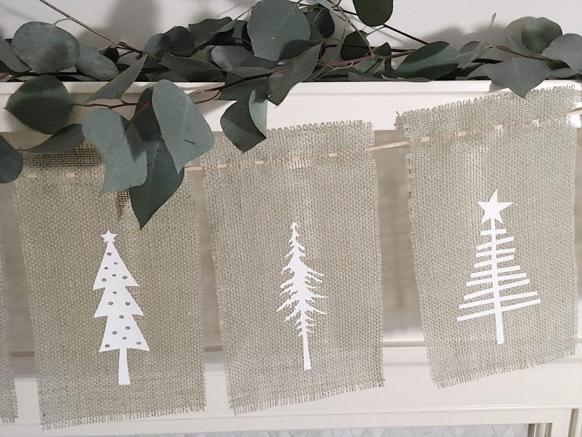 Burlap Christmas Tree Garland 12