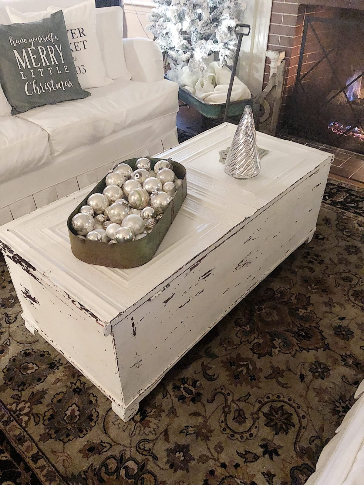 Do It Yourself Milk Paint Coffee Table with Ceiling Tin