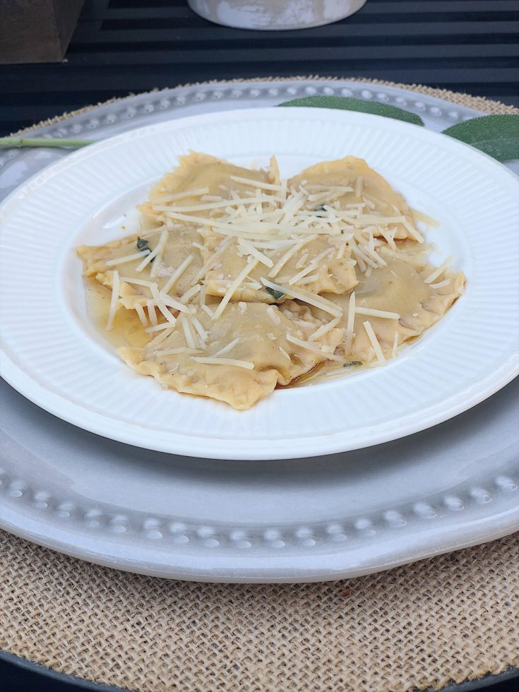 Roasted Butternut Squash Ravioli with Sage Brown Butter Sauce