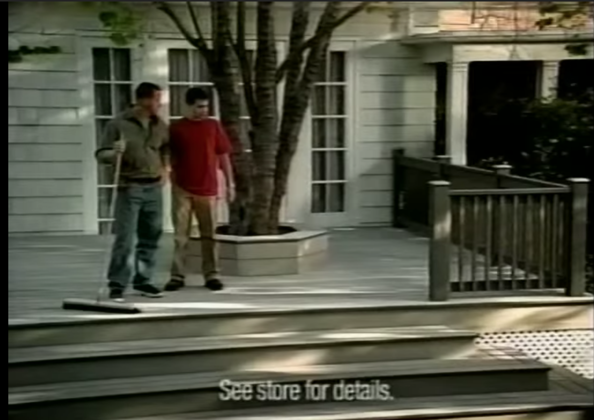 actors outside by tree on porch