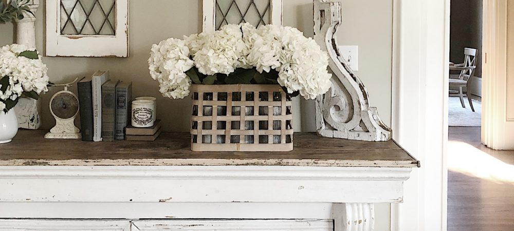 Arranging a Basket of Hydrangeas