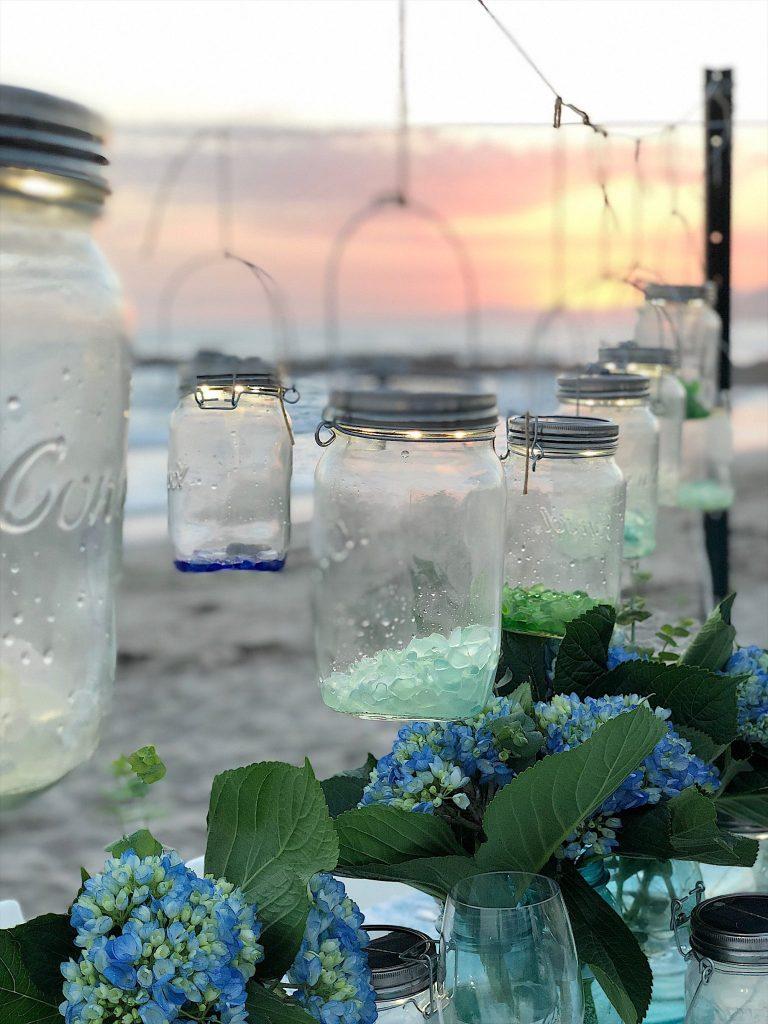 Dinner on the beach with solar lanterns