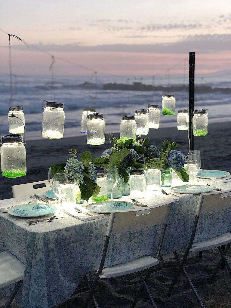 Dinner on thee beach in Ventura