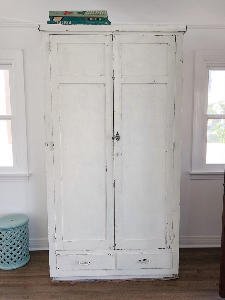 finished milk paint cabinet