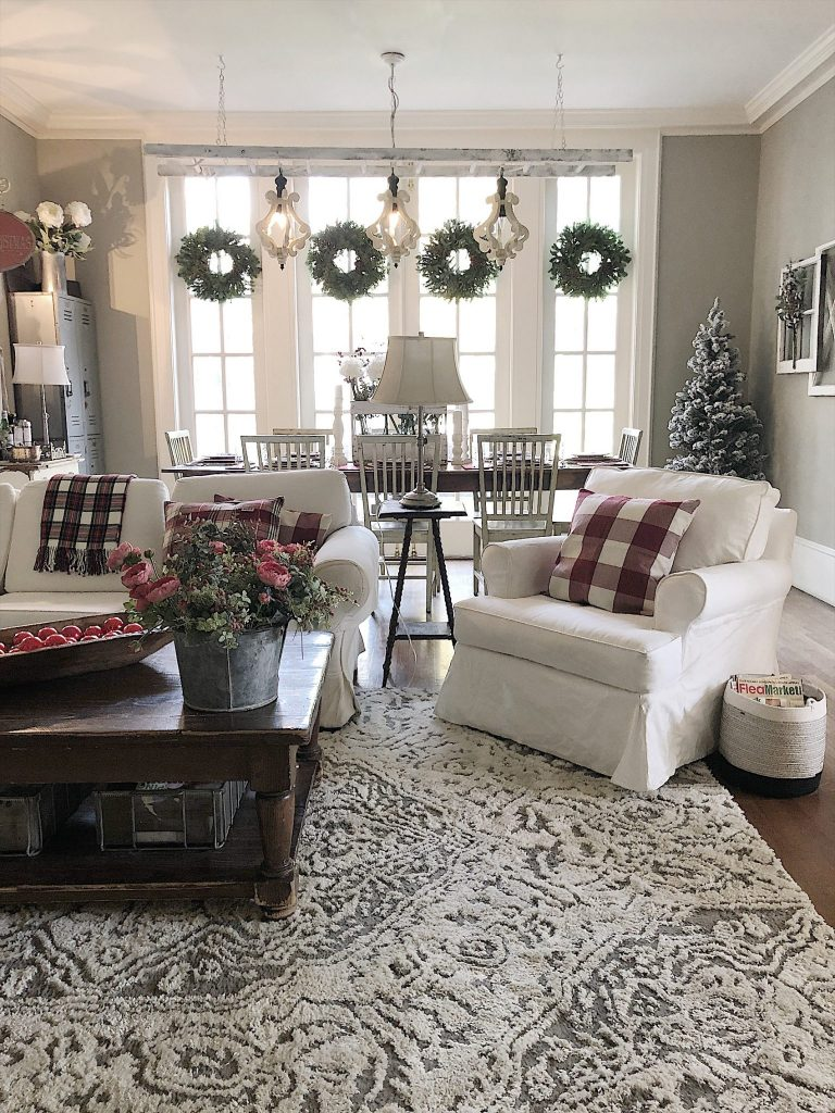 red and green holiday decor
