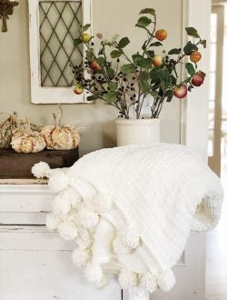 Decorating for fall with pumpkins, florals and chunky blanket.