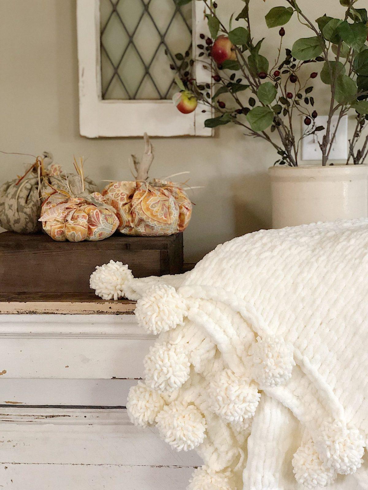 fall decor chunky blanket