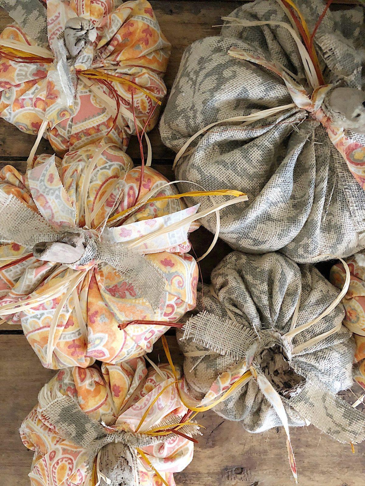 fall decor fabric pumpkins diy