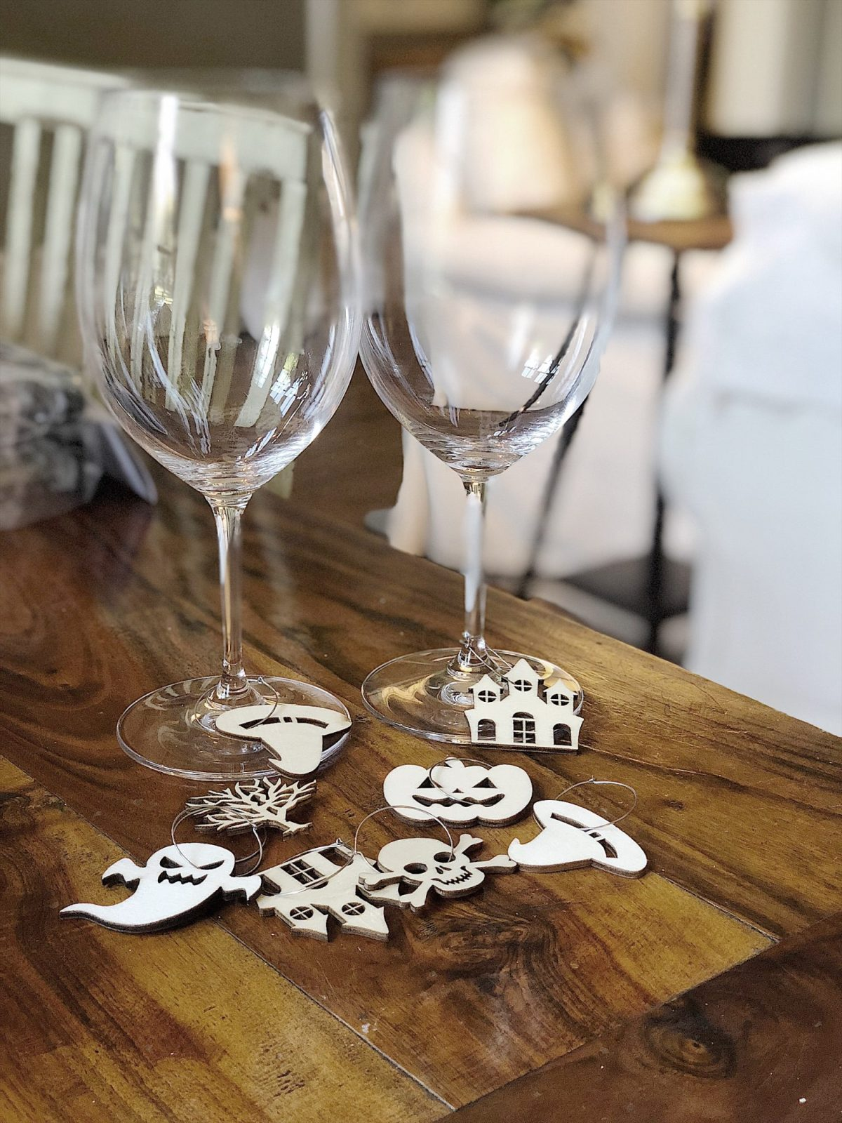 halloween table decorations chalkboard wine charms