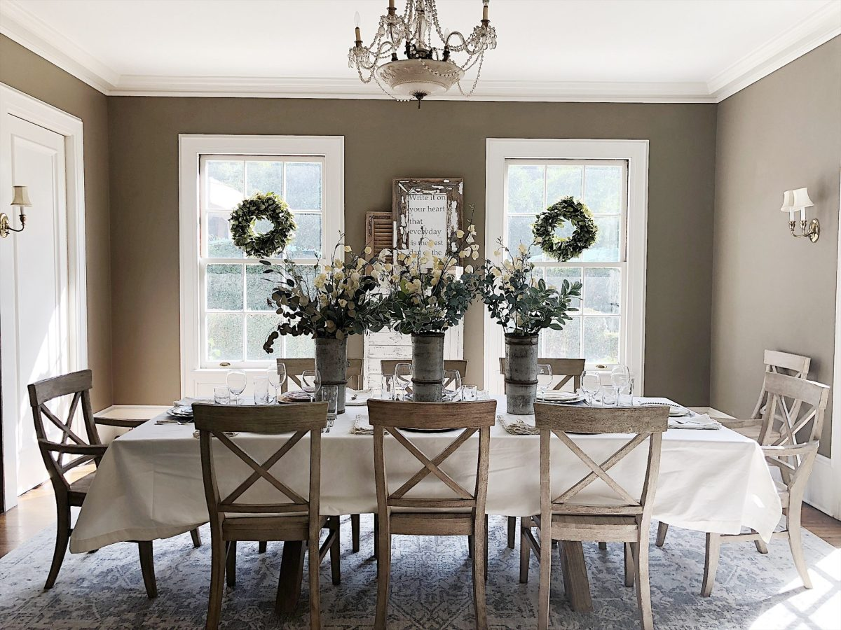 setting the table in the dining room