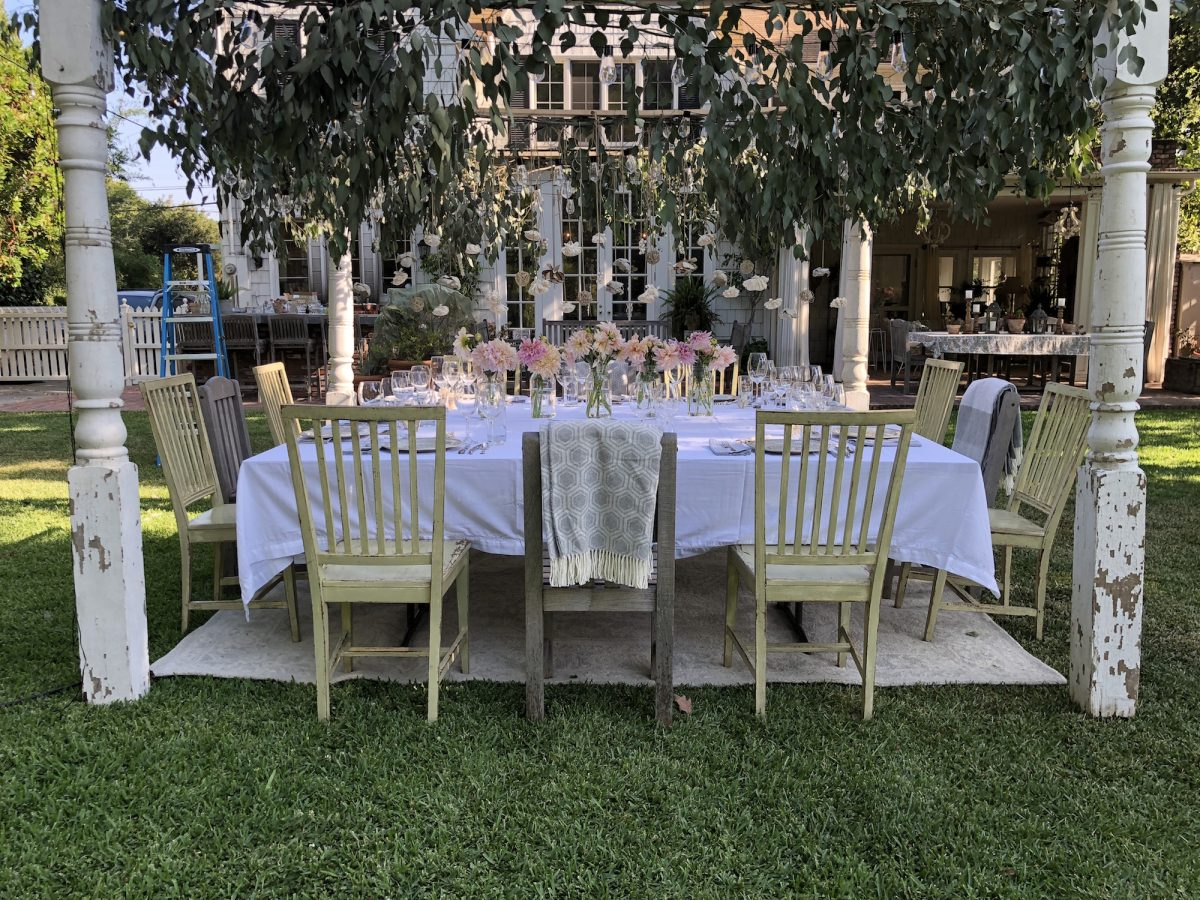 setting a table in your backyard