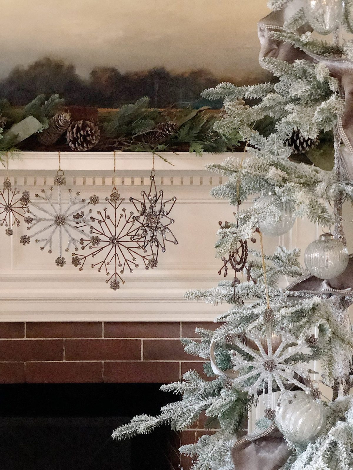 christmas tree tour ornaments on mantle