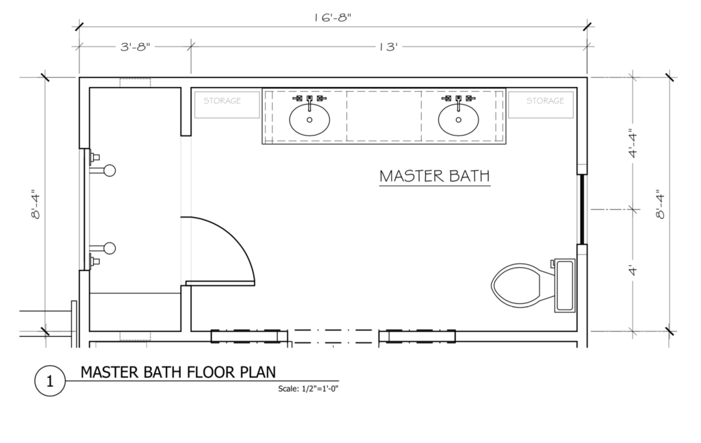 Waco Fixer Upper Master Bath Floorplan