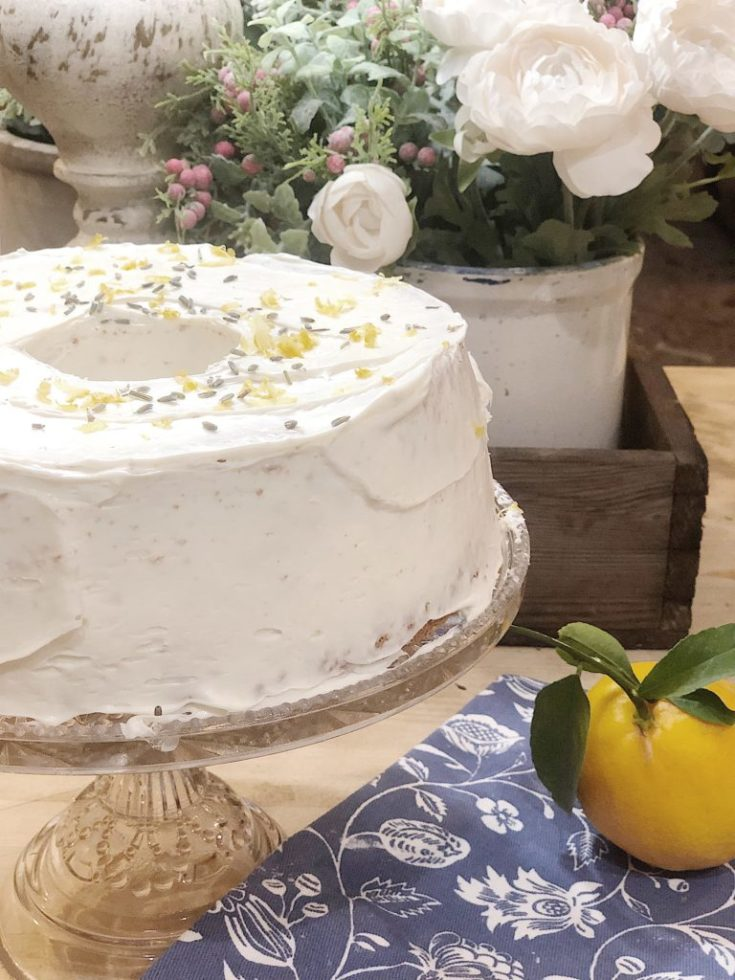 Lemon Lavender Angel Food Cake Inspired by Joanna Gaines