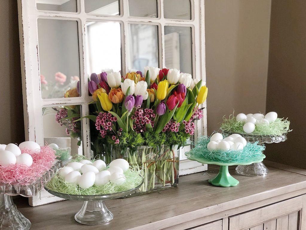 vintage glass cake stands and eggs