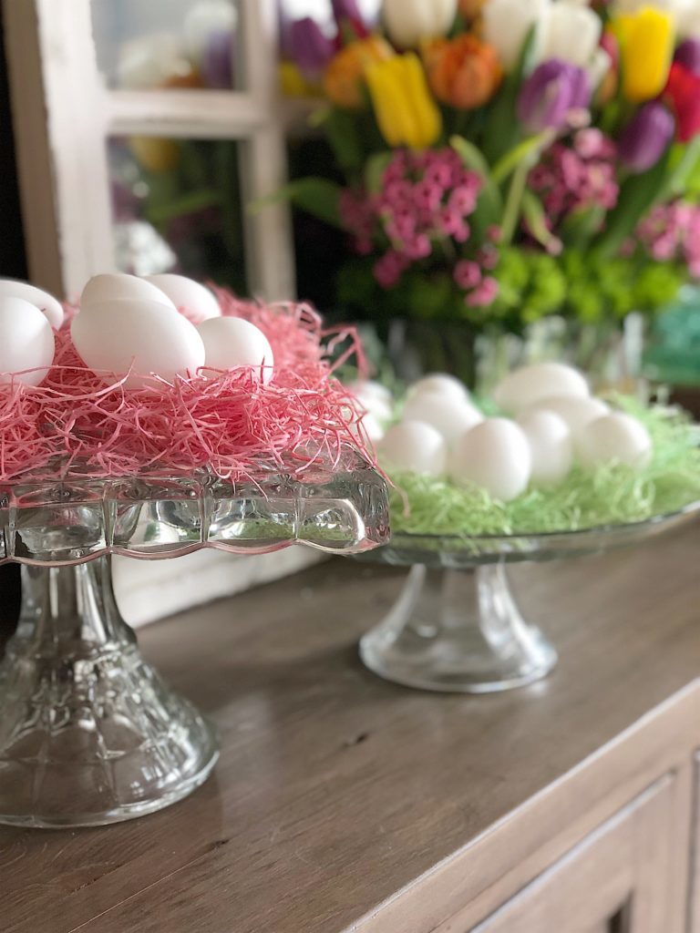 vintage glass cake stands easter eggs
