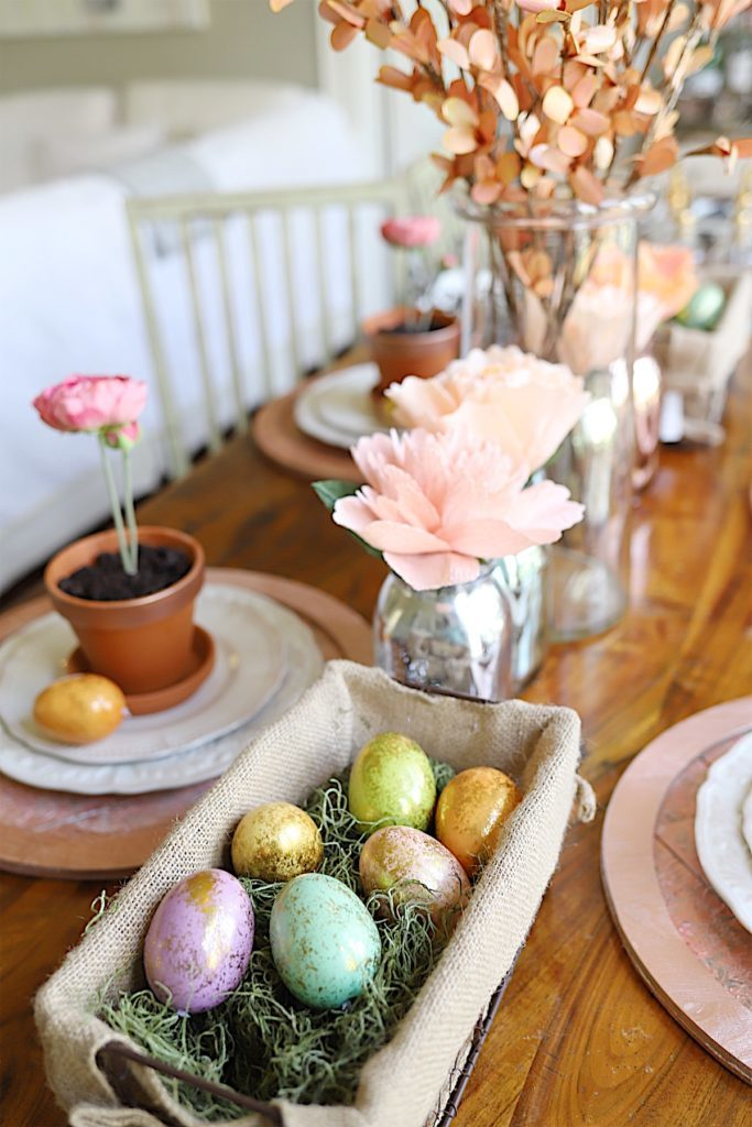 Easter Table Decor crepe paper flowers