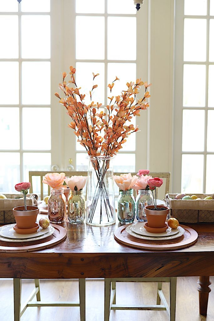 Easter Table Decor faux flowers