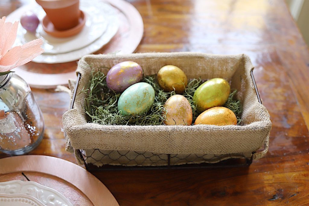 Easter Table Decor metallic easter eggs