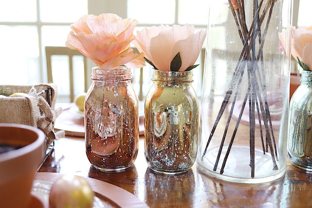 Easter Table Decor metallic mason jars