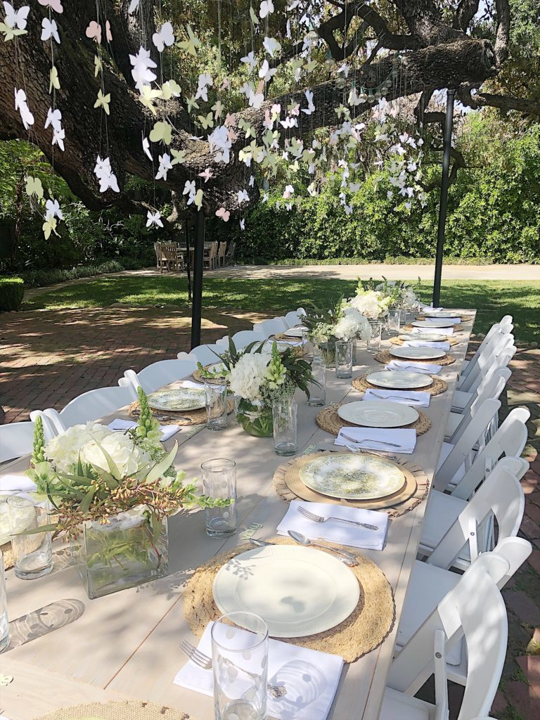 How to Plan a Bridal Shower hanging butterfiles