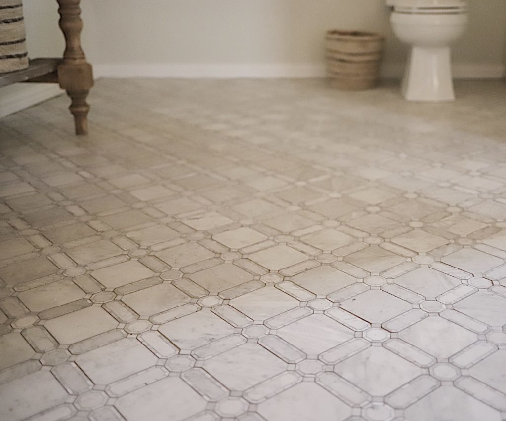 Master Bathroom Reveal jeffrey court floor tile