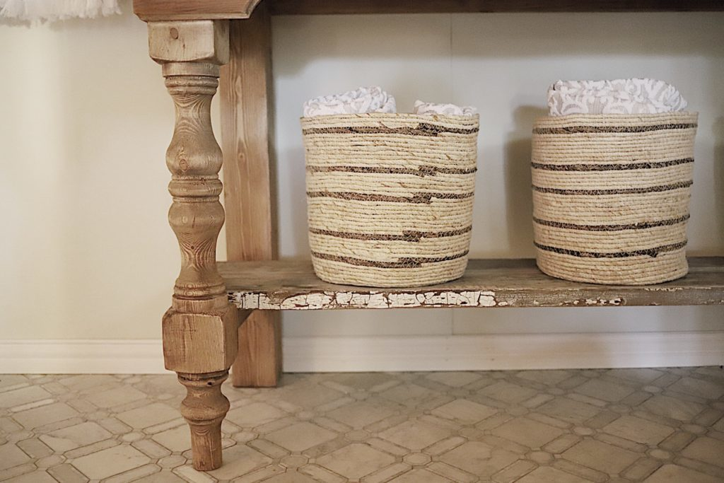 Master Bathroom Reveal towel baskets