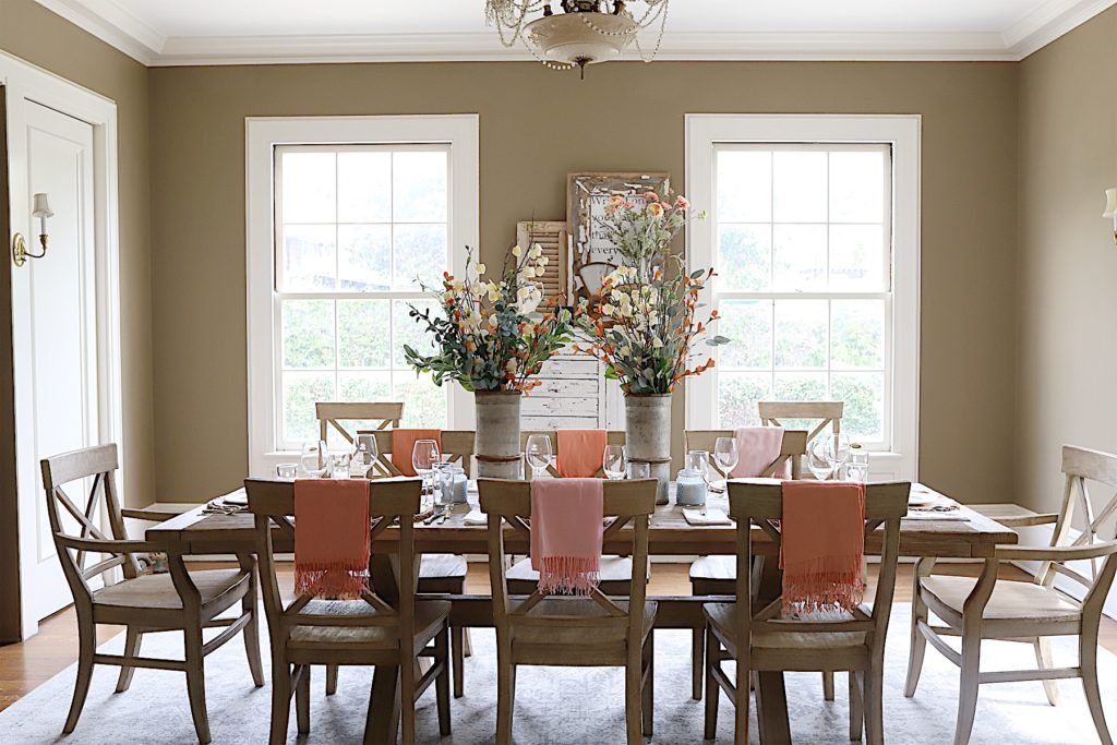 My Neutral Palette In The Dining Room Is A Perfect Template To Add Color I Know Painted Walls Are Bit Daring But Love Them