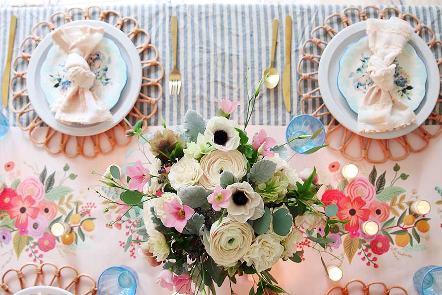 pink and blue spring table for easter