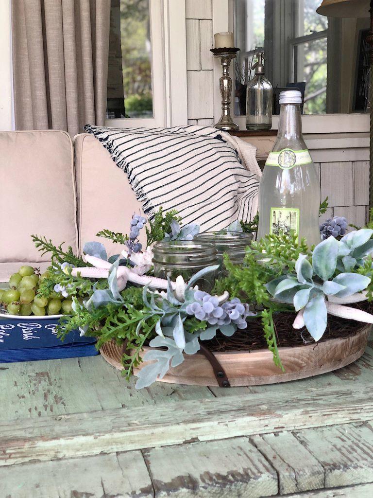 spring porch indigo blue makeover