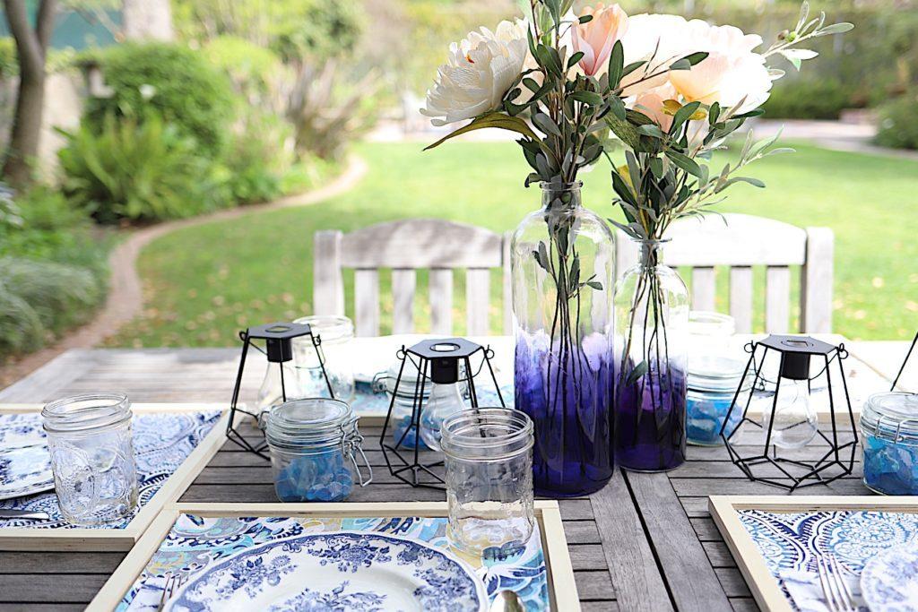 spring porch makeover in indigo blue