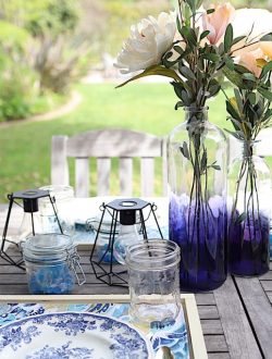 spring porch makeover in indigo blue