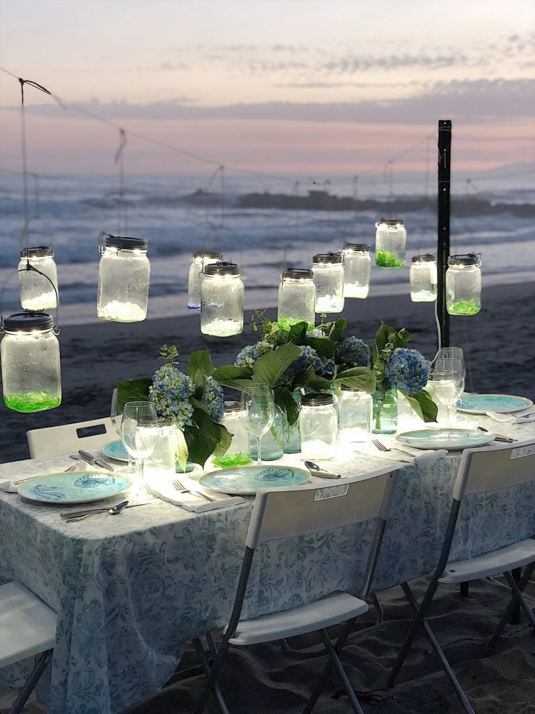 dinner party on the beach