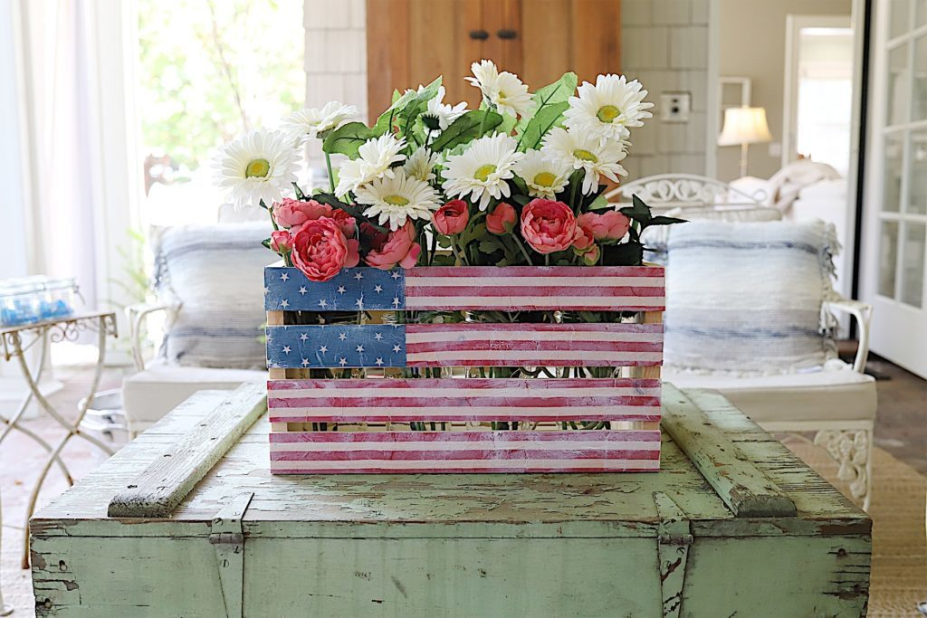Fourth of July wooden crate decor DIY