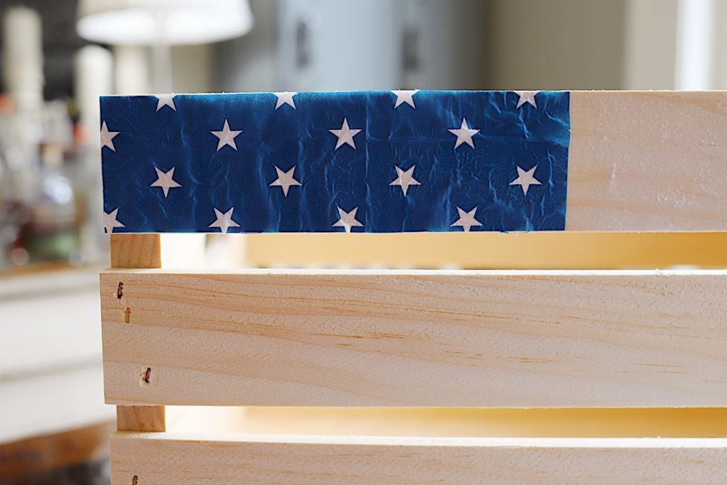 Fourth of July wooden crate napkins DIY