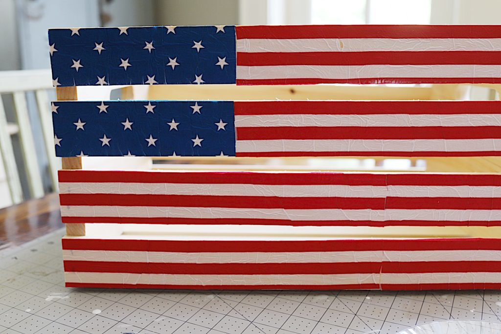Fourth of July wooden crate napkins DIY 2