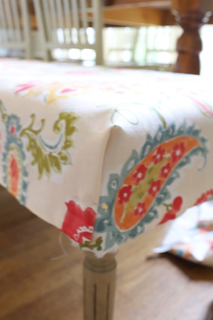 cover a fabric bench diy