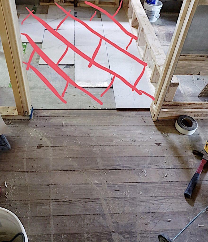 Waco Home Bath Remodel diagonal tile layout