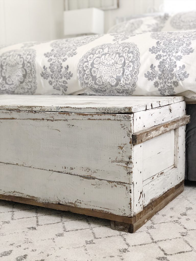 old trunk painted with milk paint