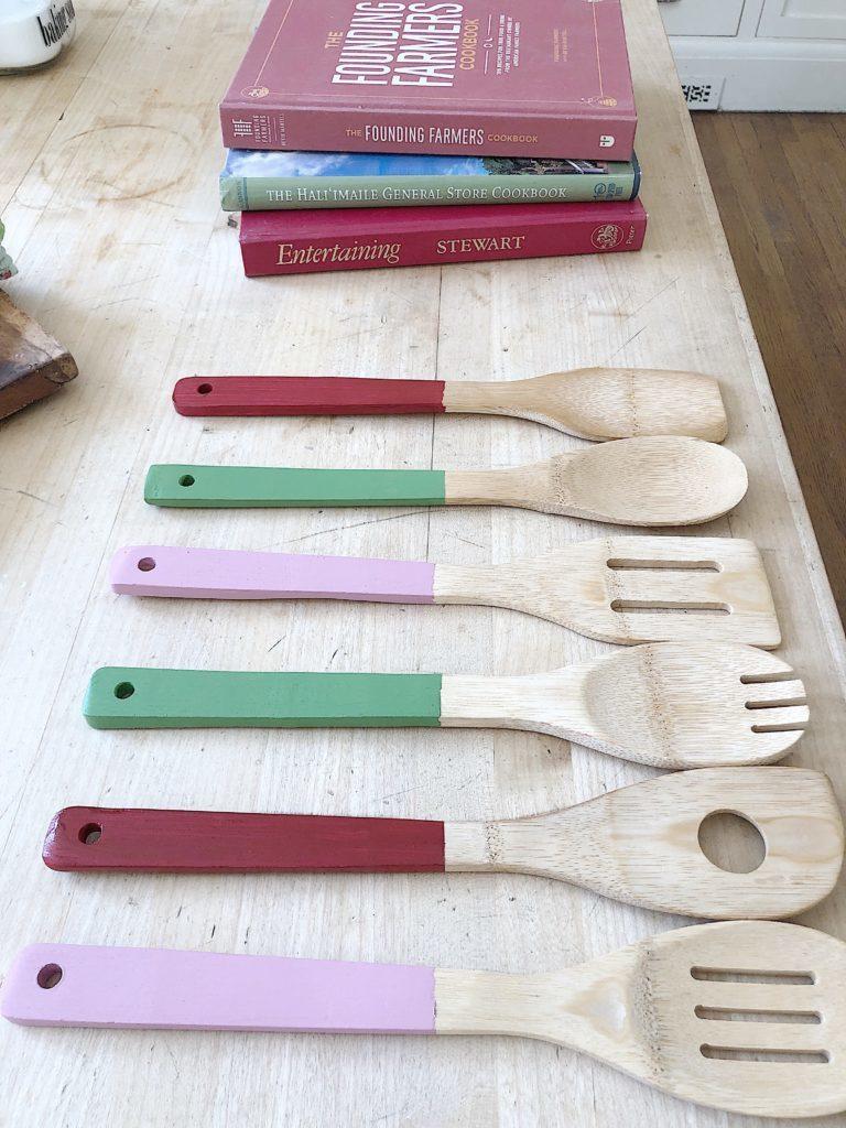 painted wooden handle utensils