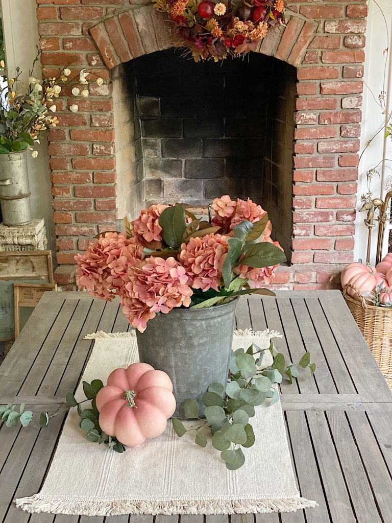 Fall florals on back porch