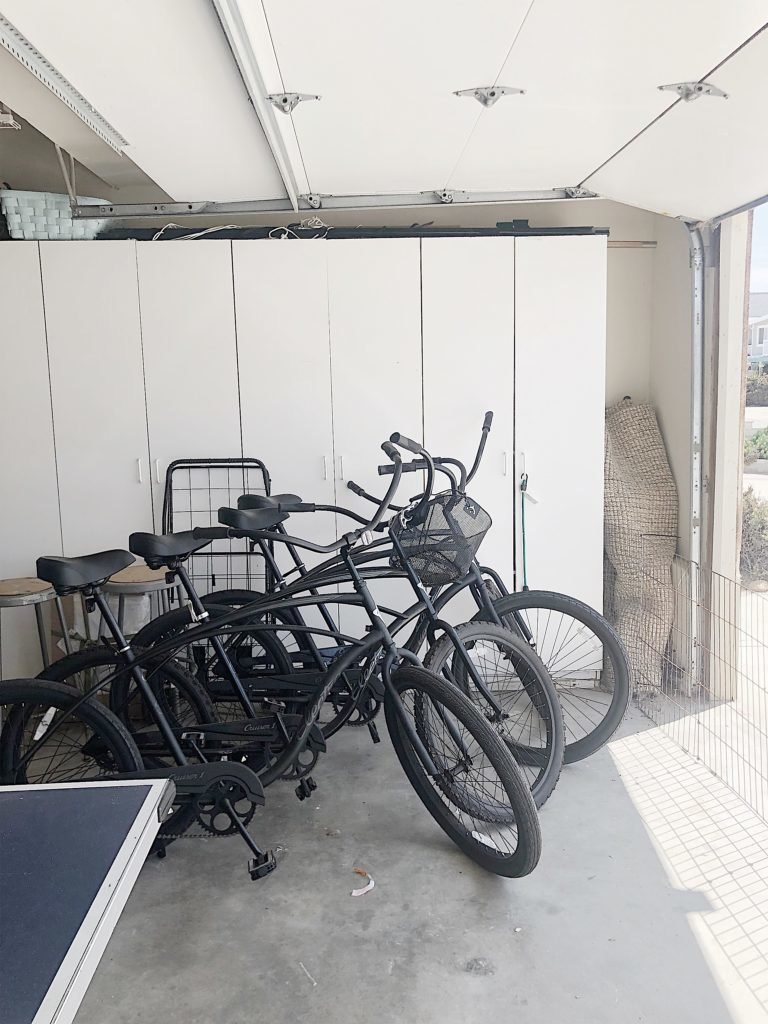 unorganized bikes in garage