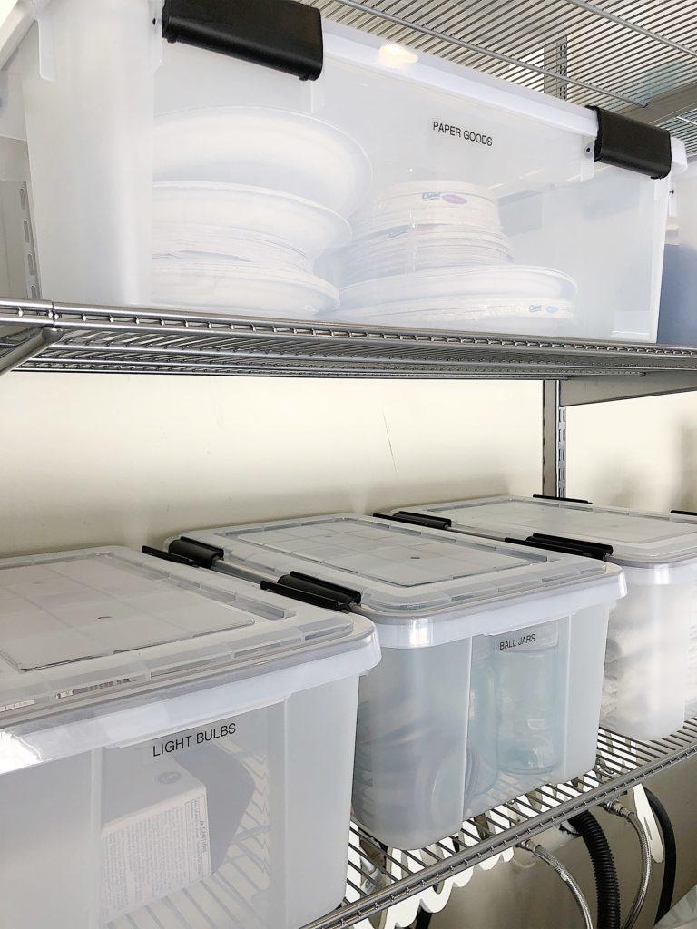 plastic storage totes in garage