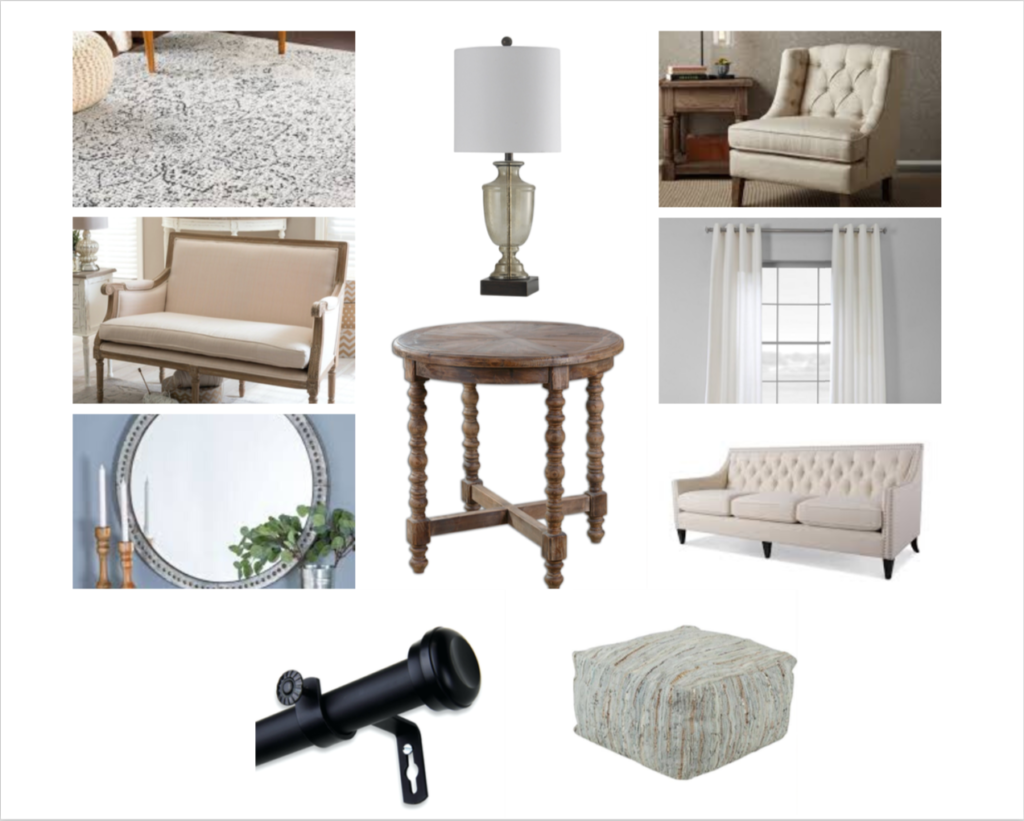 Overstock mood board for living room
